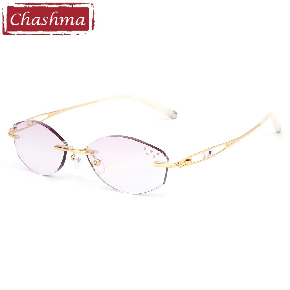 0b5824f401 2019 Chashma Brand Eyeglasses Diamond Trimmed Rimless Glasses Titanium  Fashionable Lady Eyeglasses Spectacle Frames Women From Zeipt