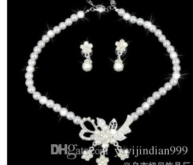 wondrful diamondl pearl flower lady's set necklace earings (8)vcfd