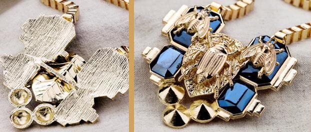 المرأة الجديدة الأزياء والمجوهرات حشرة الضلع الشرير قلادة قصيرة أنيقة
