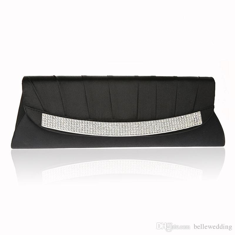 Women s Satin Evening Bags Hight Quality Crystal Beads Bridal Hand ... b2f13556aeaeb