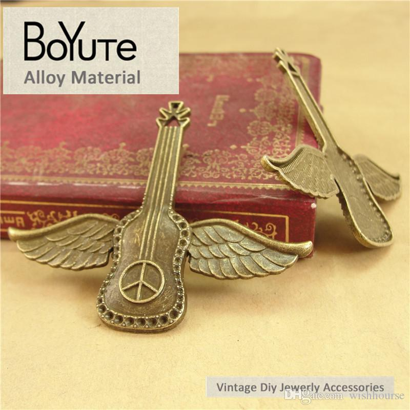 BoYuTe  54*63MM Charms Flying Wings Guitar Antique Brozne Plated Zinc Alloy Pendant for Jewelry Accessories Diy Hand Made