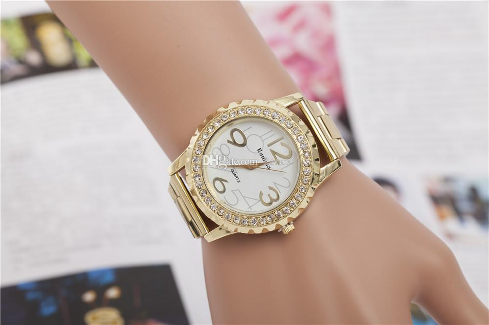 New Fashion Stainless Steel Gold & Silver Quartz Watch Luxury Men Women Rhinestone Casual Watches Valentine Gift