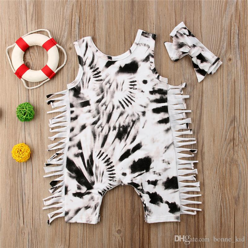 Two Colors Newborn Baby Girls Toddler Tassel Leopard Romper Jumpsuit Bodysuit With Headband set Outfits Kid Clothing 0-24M