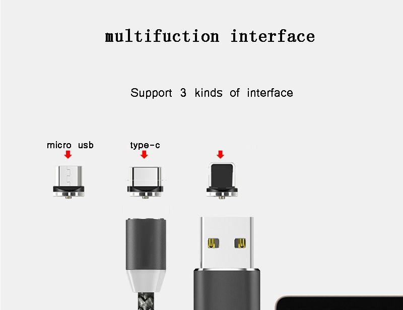 3 в 1 магнитный кабель Micro USB Тип C быстрая зарядка 1 м нейлон мобильный телефон зарядные кабели для Samsung note8 huawei mate10