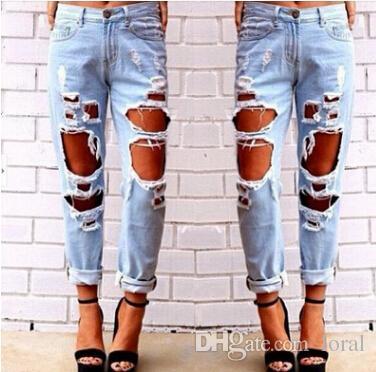 Mit Vintage Großhandel Jeans Löchern Weibliche Zerrissene Frauen cKJl1F