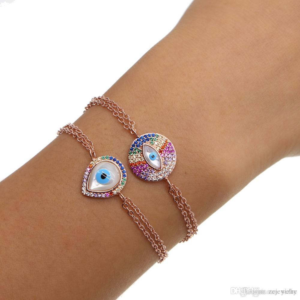 d26386a2a3 Luxury Fashion Jewelry Pave Multi Color Cz Rainbow Stone Mother Of Pearl  Evil Eye Charm Double Chain Rose Gold Bracelet For Girl Silver Charm  Bracelet Uk ...