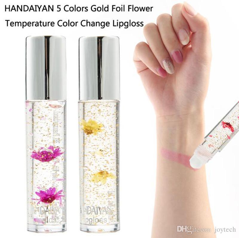 cd254d3389f1 HANDAIYAN Gold Foil Temperature Color Change Lipstick With Flower  Moisturizing Lip Oil Lip Gloss Lip Batom Makeup For Lipsticks Lip Pencil  Matte Lip Gloss ...