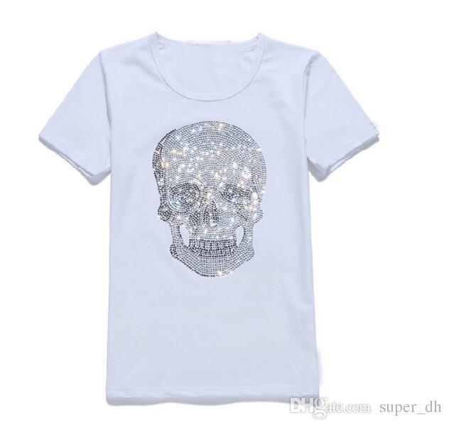 أزياء رجالي تي شيرت الصيف القطن الرجال المحملات قصيرة الأكمام قمصان الجدة الجمجمة دراجة نارية النمر قميص