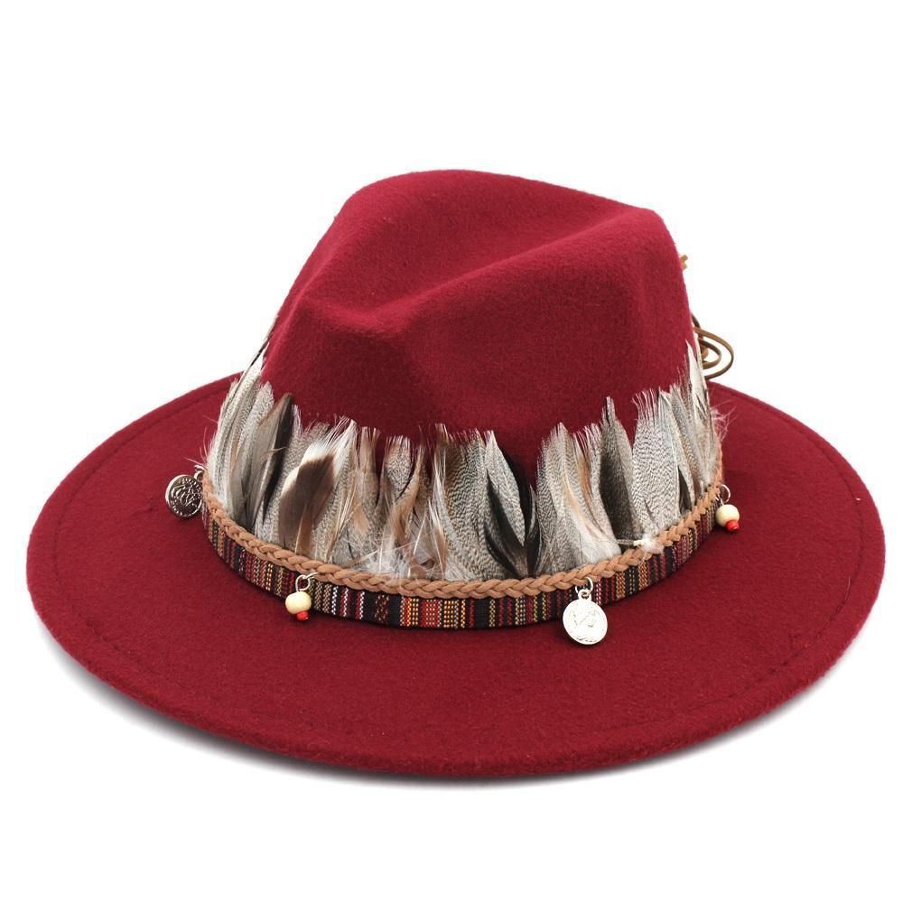 66c913640 Vintage Men Women Autumn Wool Blend Panama Jazz Hat Outdoor Wide Brim  Sombrero Godfather Cap Church Caps Fedora Hat Feather Belt