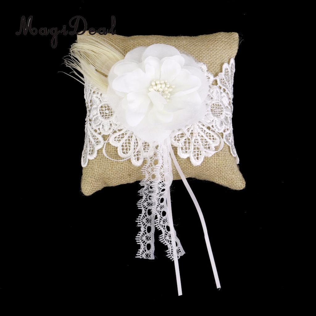 MagiDeal 15x15 cm Çiçek Alyans Yastık Dantel Trim Düğün Cep Halka Yastık Inci Yastık Parti Dekorasyon