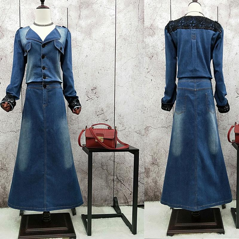 2d57ef3536fae Free Shipping 2018 New Denim Dresses Women Long Maxi Plus Size XL-2XL  A-line Jeans Long Sleeve Spring And Autumn Dress With Belt