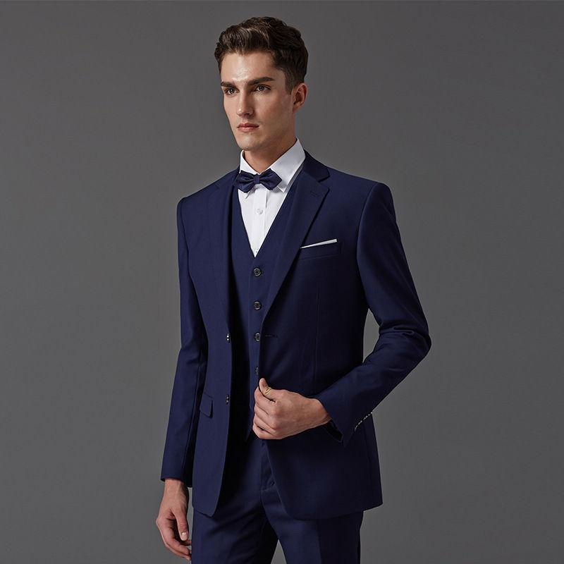 2b84cad8d3dcd Compre Traje De Hombre Azul Marino Por Encargo