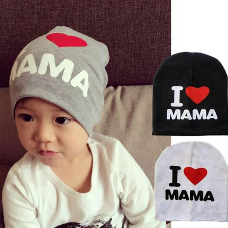 Print Cartoon I Love Mama Papa Baby Hat New Spring Autumn Baby Knitted Warm  Cotton Beanie Hats For Kids Girl Boy Slouchy Beanie Crochet Pattern Baby Boy  ... 4899a92513f