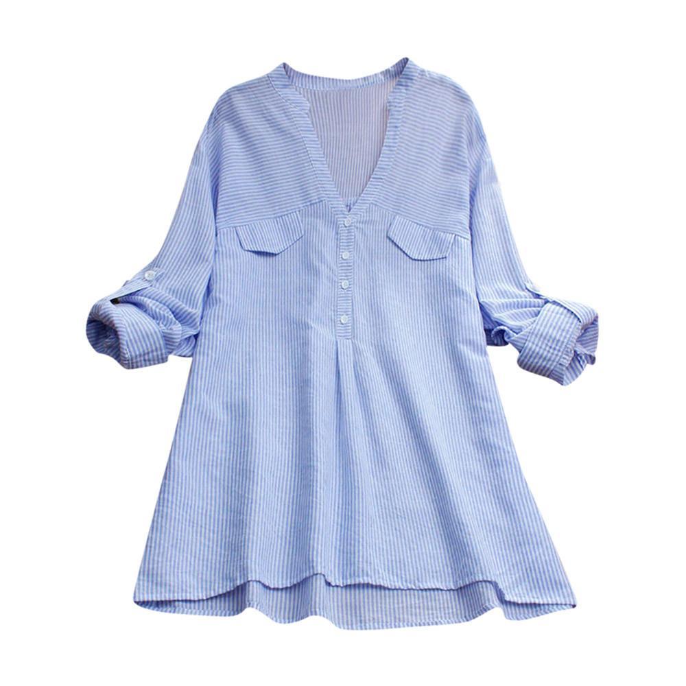 ddc1a298f 2019 Womens Tops And Blouses 2018 Women Fashion Stripe Shirt Spliced Pocket  Blouse V Neck Line Long Sleeve Tops Roupas Feminina From Liasheng09