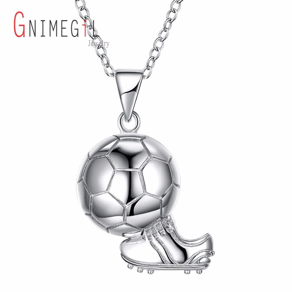 GNIMEGIL Sporty necklace football & Shoes Pendant With Chain 925 Sterling Silver Soccer Necklace Men/Women sport ball Jewelry