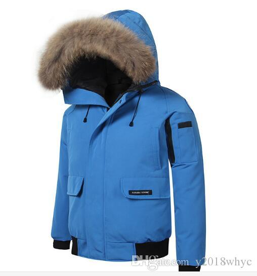cfd10a0709 2019 New Big Fur Collar Hooded Down Jacket Men Short Warm Warm Cold Ski  Jacket Coat From Y2018whyc