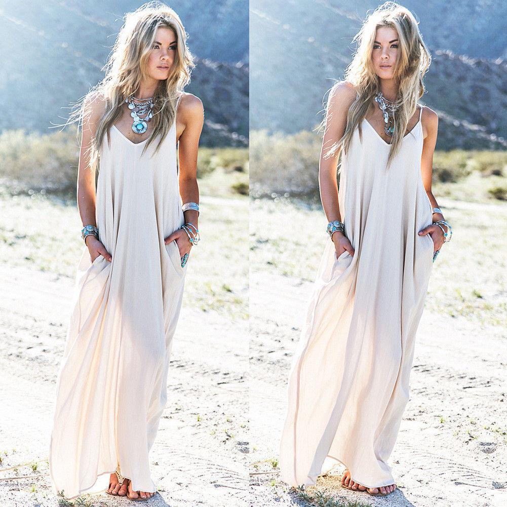 Women Dress Boho Long Maxi Dress Beach Holiday Party Casual Summer