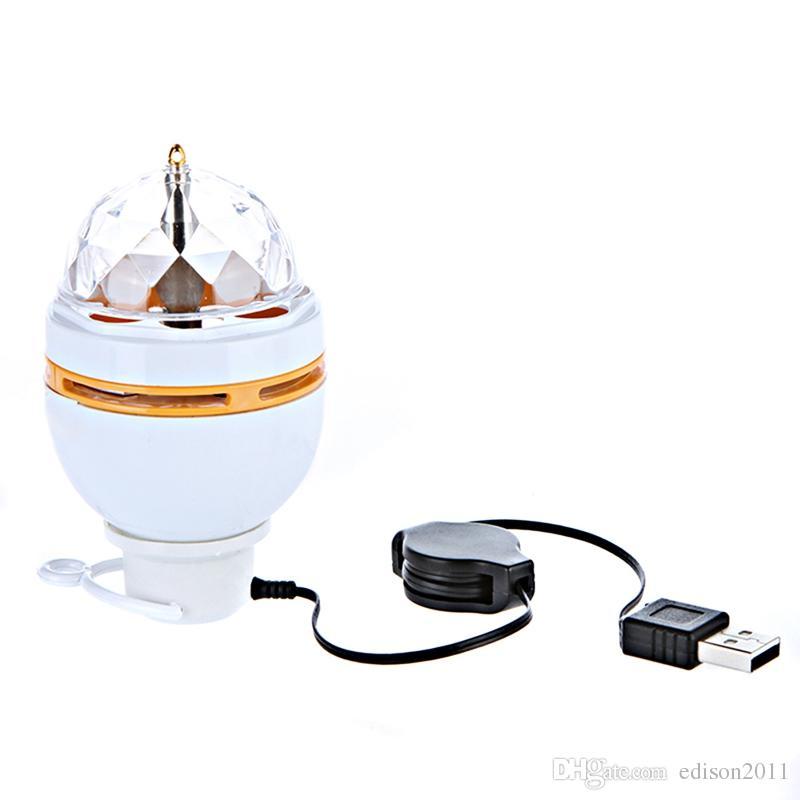 Edison2011 5 V USB RGB LED Lampe Éclairage de Scène Auto Rotation Mini Magic Ball Ampoule avec USB Interface pour DJ Disco Party Club Vacances