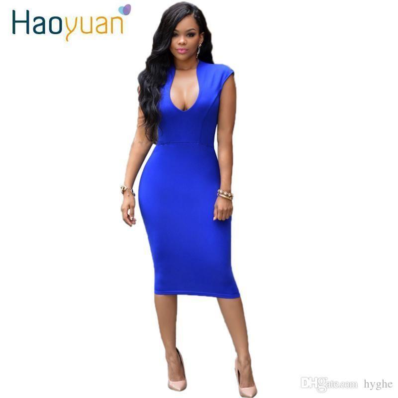 868eaa9dcd236 Wholesale- Summer Sexy Dress Club 2017 Women Vestidos Sleeveless Slim  Bodycon Dress Pink Red Blue Midi Elbise Pencil Bandage Party Dresses