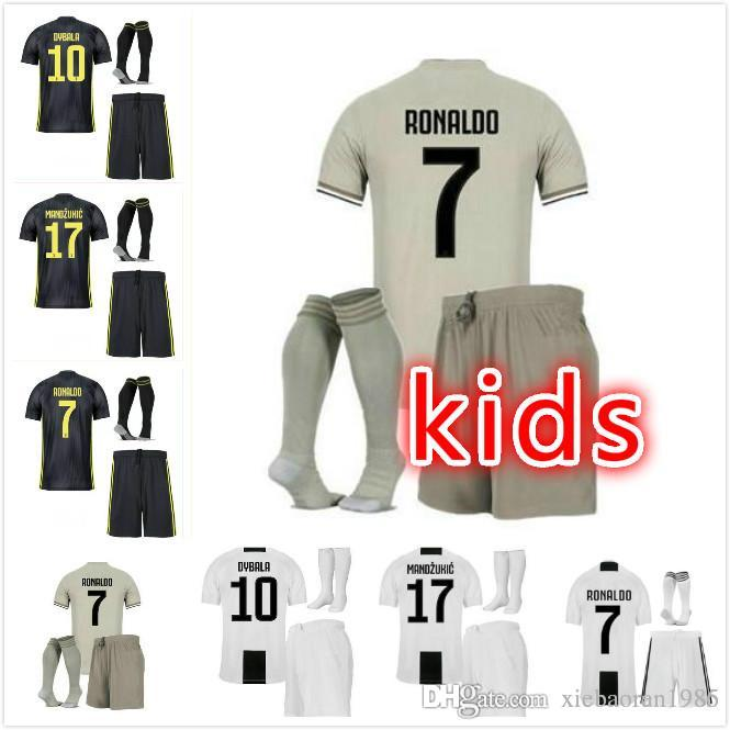 2018 Juventus Kids Kits Ronaldo Soccer Jerseys Home Dybala Kit 2018 2019  D.Costa Higuain Matuidi Mandzukic Kids Jersey Child Away Football Shirt  From ... 6e97d0cbb