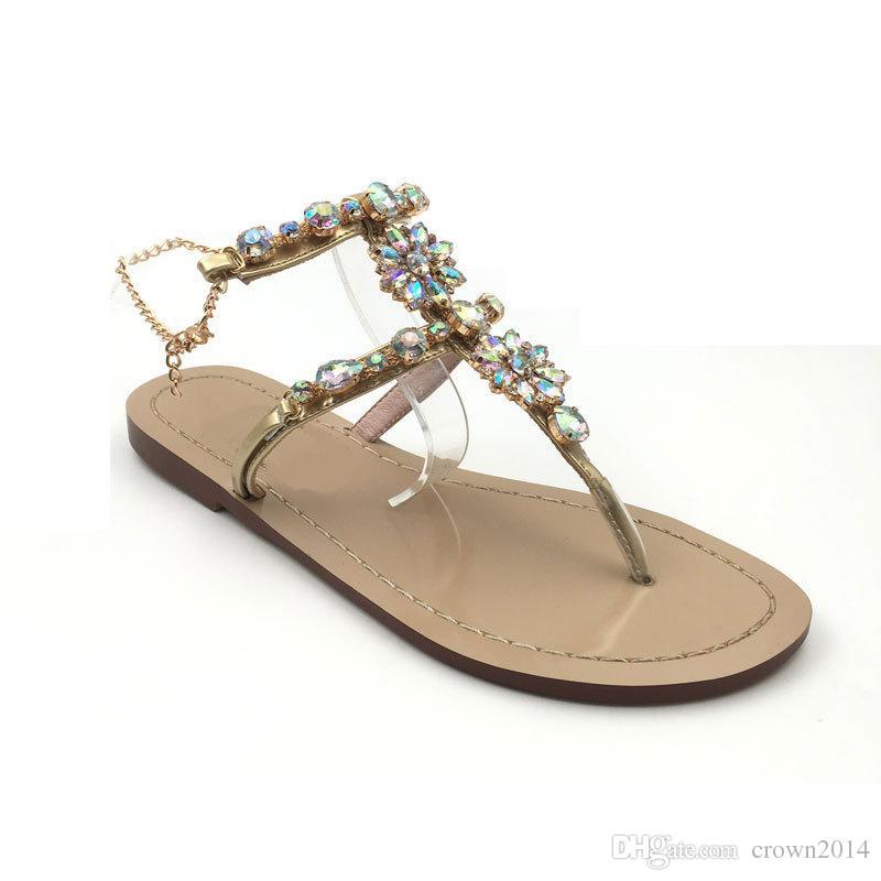 2020 lujo de la manera del Rhinestone de la playa del verano Zapatos Mujeres Sandalias Diseñador Flops para los zapatos de boda de las mujeres playa de los deslizadores para la novia