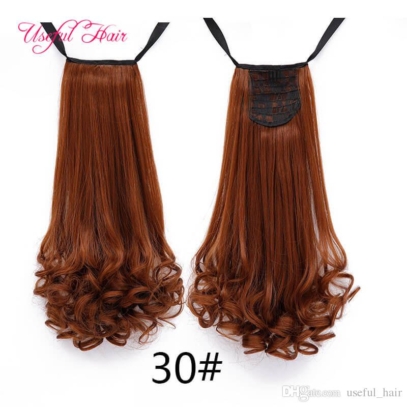 Extensiones de cabello de cola de caballo de Lady Long Hair Ponytails Extensiones de cabello Girl Wavy para cabello de cabello rizado para mujeres negras Clip en barato