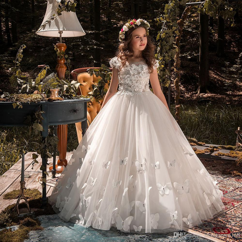 New Arrival Pageant Dresses for Girls O-neck Beading Ball Gowns Chapel Train Flower Girls Butterflies Princess Wedding Dresses