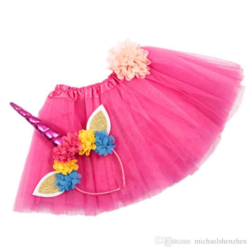 i ragazze INS gonna Unicorno TUTU + set di accessori capelli 2018 Nuova estate pizzo fiocco decorazione floreale gonna corta bambini vestono 1 ~ 6 anni B001
