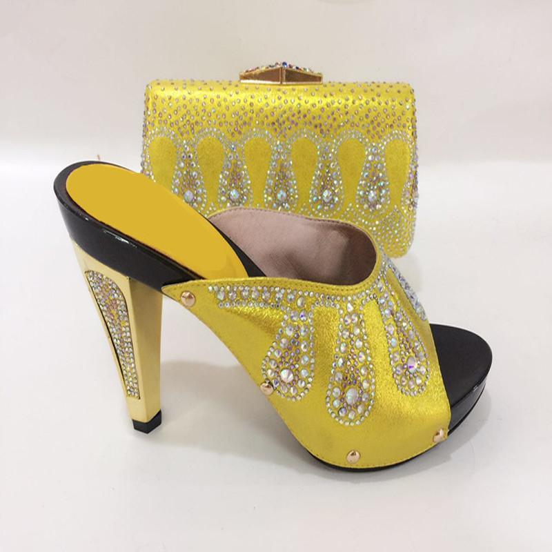 4d81272e670551 Acheter 663 2 Couleur Jaune Chaussures Et Sacs Assortis Ensemble Décoré  Avec Des Chaussures En Strass Et Sac Pour Nigeria Partie Mariage Haute  Talons ...