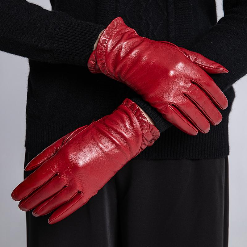 c35344bc8 2019 Sumusan Women Red Leather Gloves Full Finger Black Villus Gloves Lady  Winter Thick Warm Sheep Leather Mittens From Juaner, $52.0 | DHgate.Com