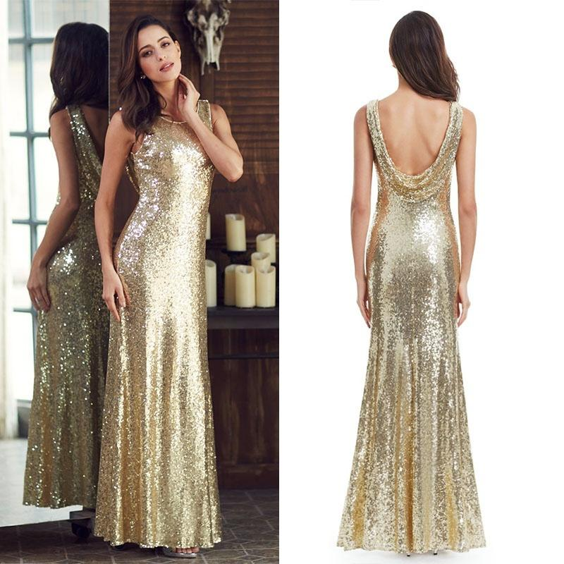 2019 Long Sparkle Prom Dresses Ever Pretty 2018 New V Back Women Elegant  XXDG01170PEC Sequin Mermaid Maxi Gold Evening Party Dresses C18111601 From  ... 911b6e09fdbe