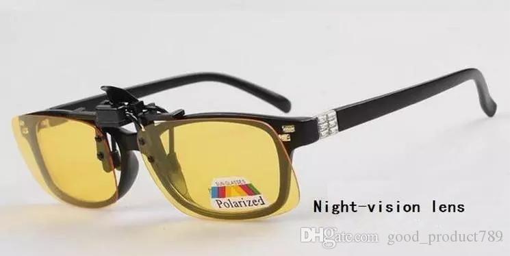 New Hot Moda Clip-on Flip-up Lente Polarizada Dia Óculos de Visão Noturna óculos de Condução S, M, L 1168