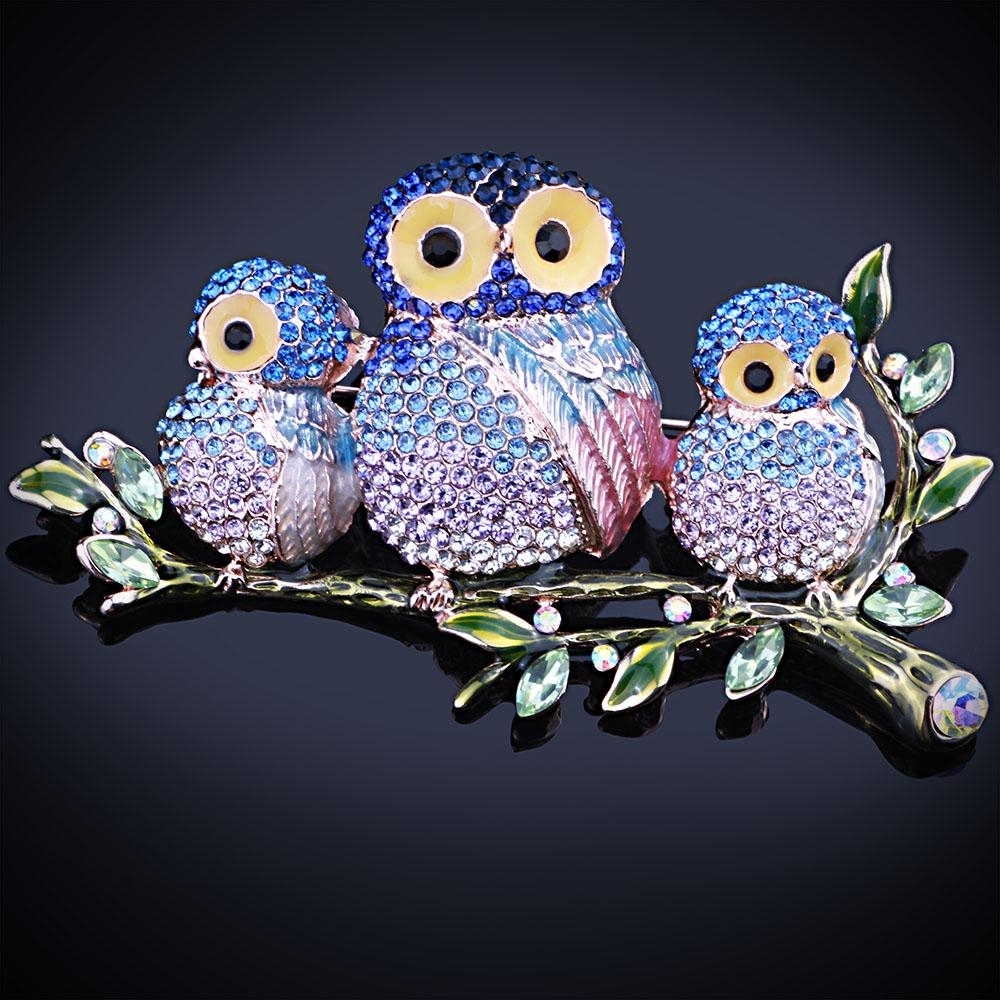 FARLENA Jewelry Beautifully enamel Multi Color Owls Brooches and Pins with Full Rhinestones Fashion brooch for women