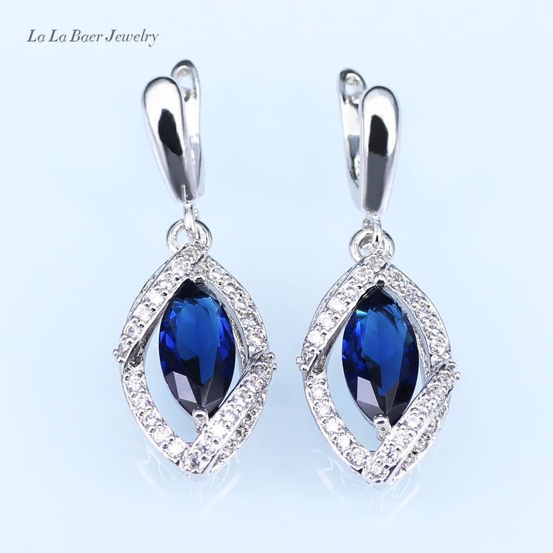 LB Göz Romantik Mavi Avustralya Opal Beyaz Zirkon Gümüş Renk Düğün Takı Setleri Küpe / Kolye / Kadınlar Için Kolye