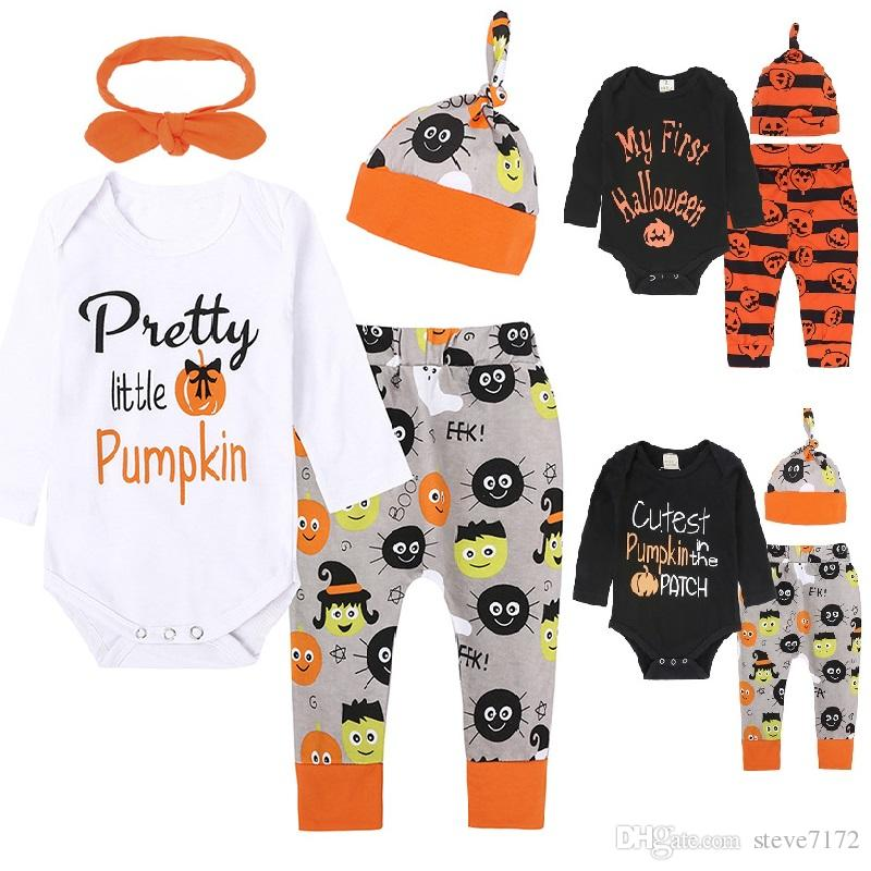 cfbc2a7a Halloween Costumes Baby Boy Clothes Sets Newborn Pumpkin Bodysuit Hat Pant  Suits Infant Jumpsuits All Saints Day Outfits Cotton Girl Romper