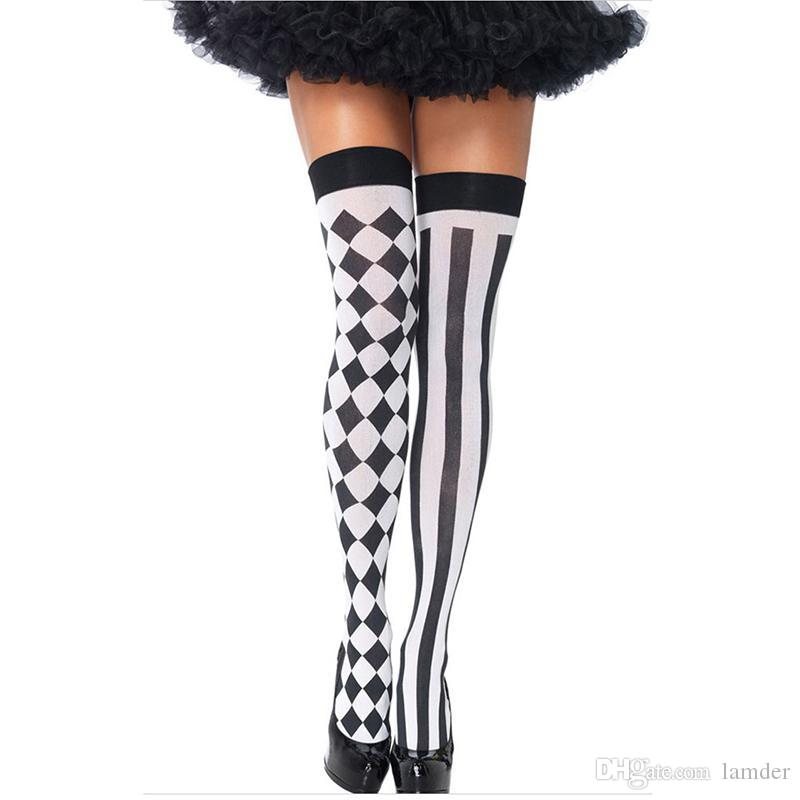 ff73636e7b3 2019 Wholesale Hot Sale New Fashion Sexy Women Girl Striped Thigh High  Stocking Over The Knee Socks Stockings For Dating Cosplay  85595 From  Lamder