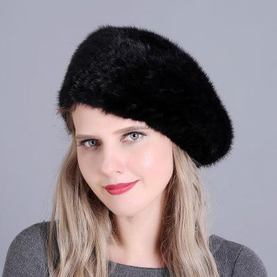 Real Knitted Mink Hat Beret with Wool Lining Winter Lady 2018 ... 3c6625fc28ba