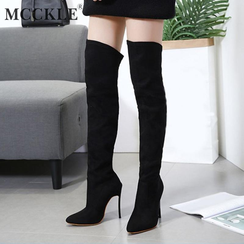 be595f6e930 MCCKLE Women Boots Winter Stretch Slim Over Knee Boot Female High Thin  Heels Shoes Ladies Pointed Toe Sexy Footwear Mujer Botas Cheap Cowgirl Boots  Mens ...