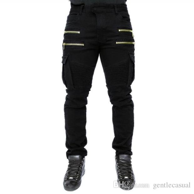 Draped Jeans for Men Fashion Clothing Pants Slim Street Wear Style Cotton Pants Trousers Pockets Zippers