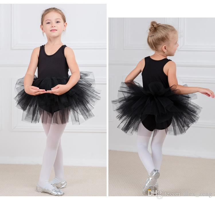 6 가지 색상 Baby Girls Leotard dancewear 발레 투투 거즈 스커트 Bodysuit Kids Girls 버블 퍼포먼스 코튼 Summer Dance Dress 2-9 years