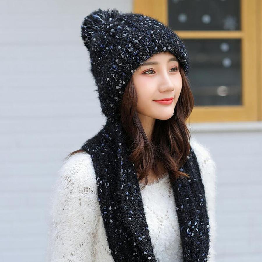 2019 Lakysilk Women Winter Hat Sets Warm Solid Fashion Knitted
