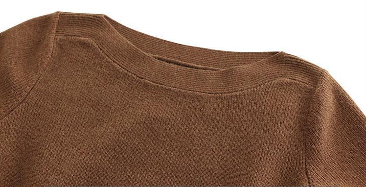 Suvance Мода Пояса Слэш Воротник С Длинным Рукавом Сплошной Цвет Женщин Пуловер Свитер