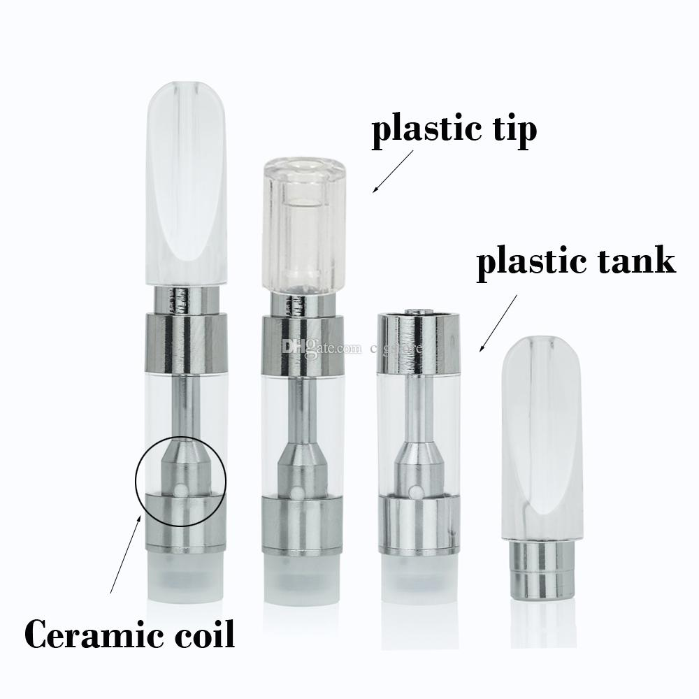 Co2 oil Cartridge M6T05/M6T10 plastic tank Flat/Round Clear tip Thick oil atomizer .5ml 1ml Ceramic coil 510 Vaporizer for hash oil