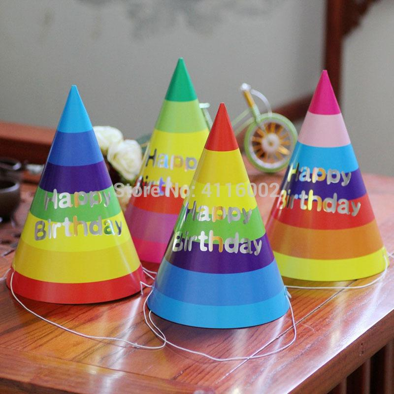 Happy Birthday Paper Cone Hats Dress Up Girls Boy Party Decortion Supplies Colorful 30th