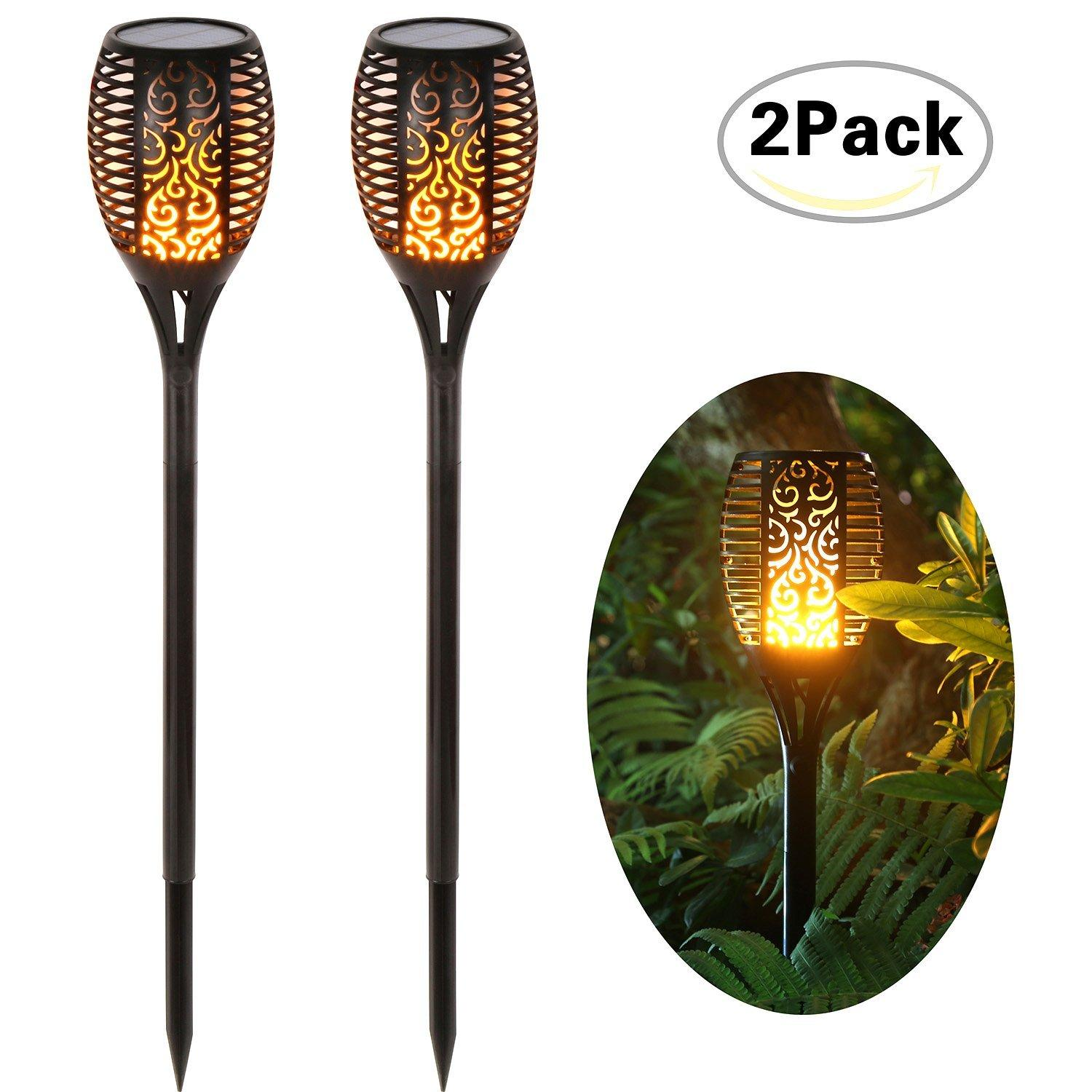 2 Pack Solar Lights Dancing Flames 96 LED Waterproof Wireless Flickering Torches Lantern Outdoor Garden Lamp for Patio Yard Driveway Pathway