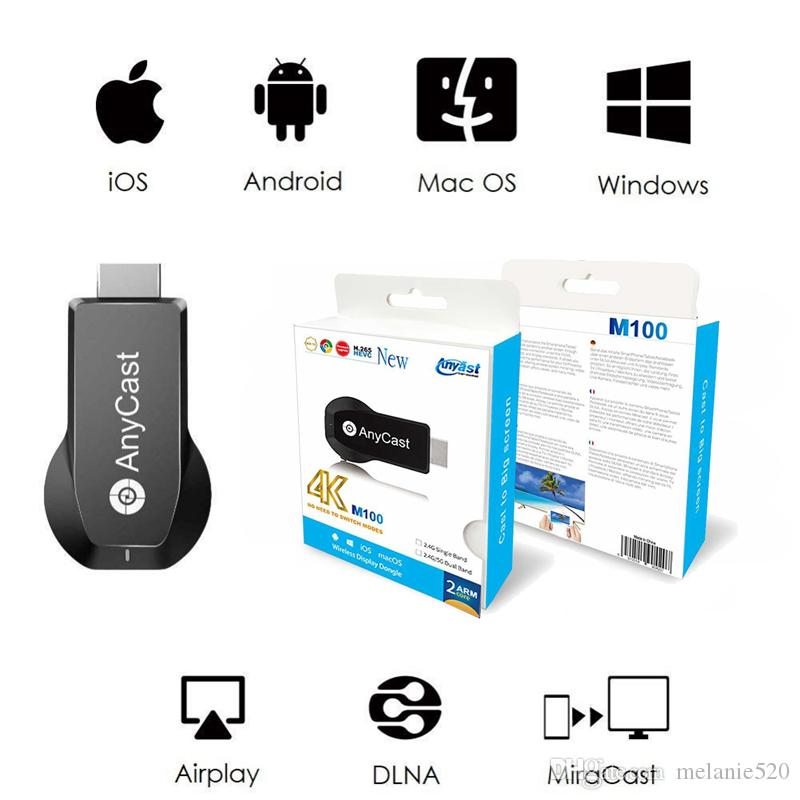 AnyCast M100 HDMI WiFi Display Tv Dongle Dual Core H 265 Decorder 4K HD  Output Tv Stick No Need Modes Switching