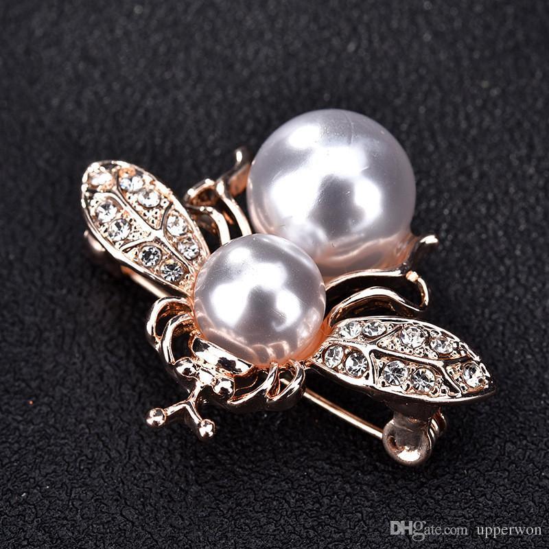 Monili di costume di Pin del Pin del Brooch delle donne di Pin antico di Pin della spilla del perno simulato dell'annata 2018 della perla Trasporto libero