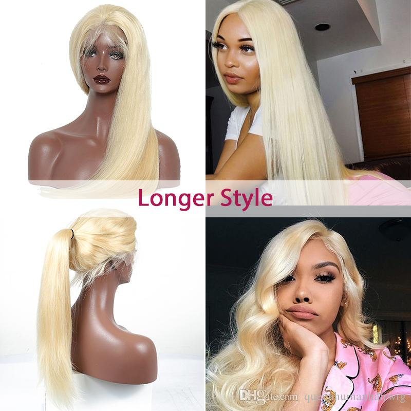 a600173e7 613 Blonde Lace Front Malaysian Human Hair Wig Pre Plucked Remy Straight  Brazilian Full Lace Wigs With Baby Hair Natural Hairline Full Lace  Brazilian Wigs ...