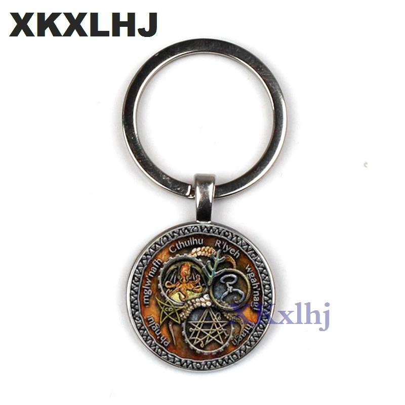 XKXLHJ Vintage Cthulhu Key Chains Steam Punk R Lyeh Pattern Letter Glasss  Dome Pendant Key Holder Men Women Bronze Jewelry Split Rings Retractable Key  Chain ... 0b3dd2e84
