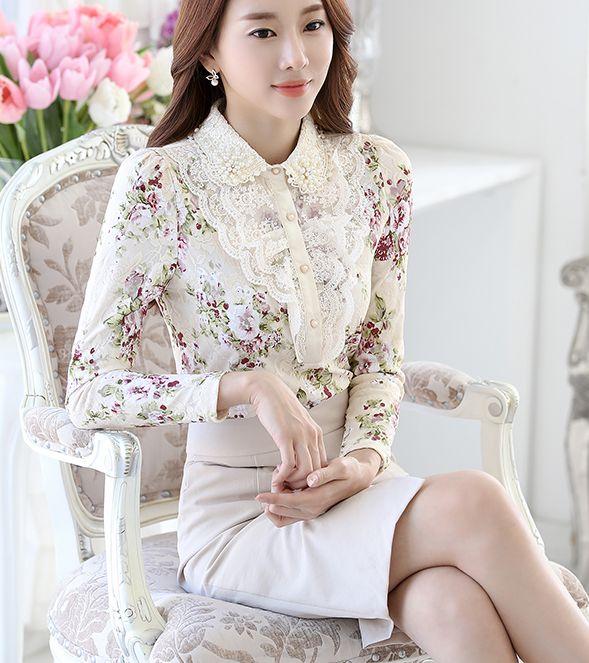 Alta calidad 2018 otoño invierno nueva llegada más el tamaño S-3XL Turn-down Collar perlas flor mujer blusa manga larga camisa de encaje